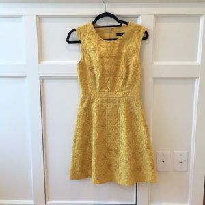 Mustard yellow J Crew jacquard eyelet dress
